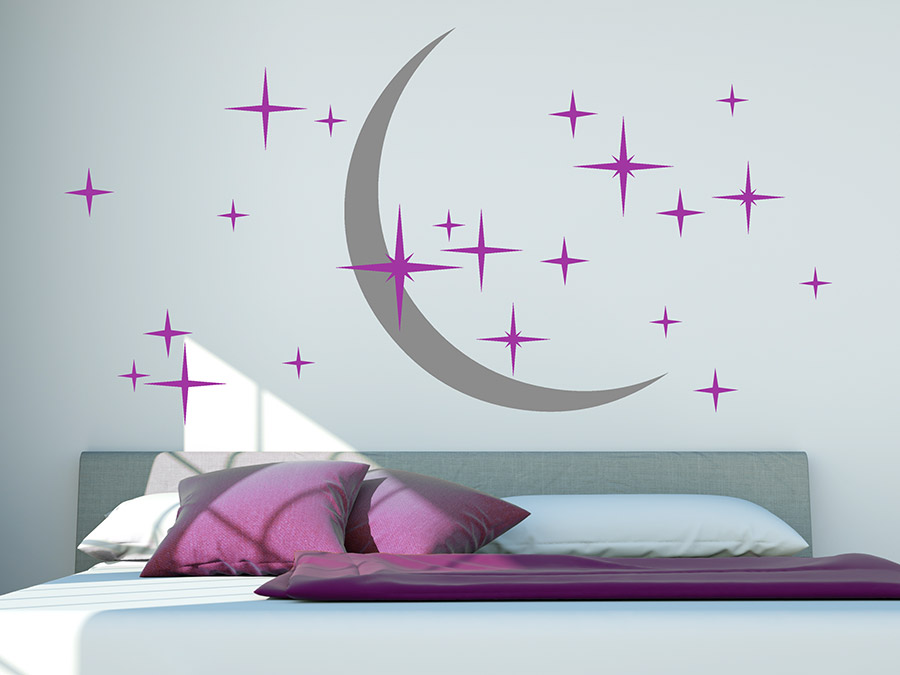 wandtattoo zweifarbiger sternenhimmel mit mond von. Black Bedroom Furniture Sets. Home Design Ideas