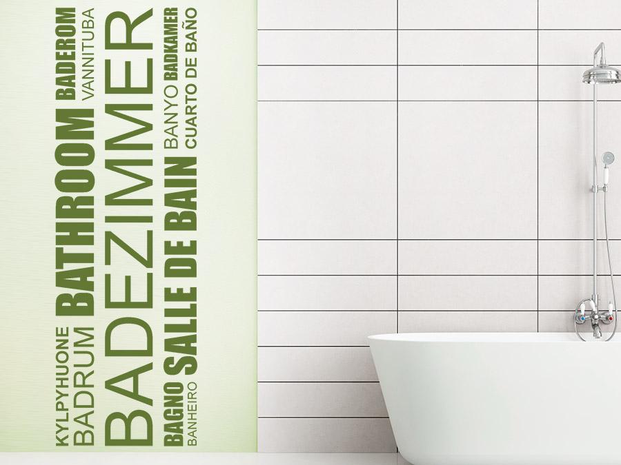 Wandtattoo Badezimmer Banner Sprachen