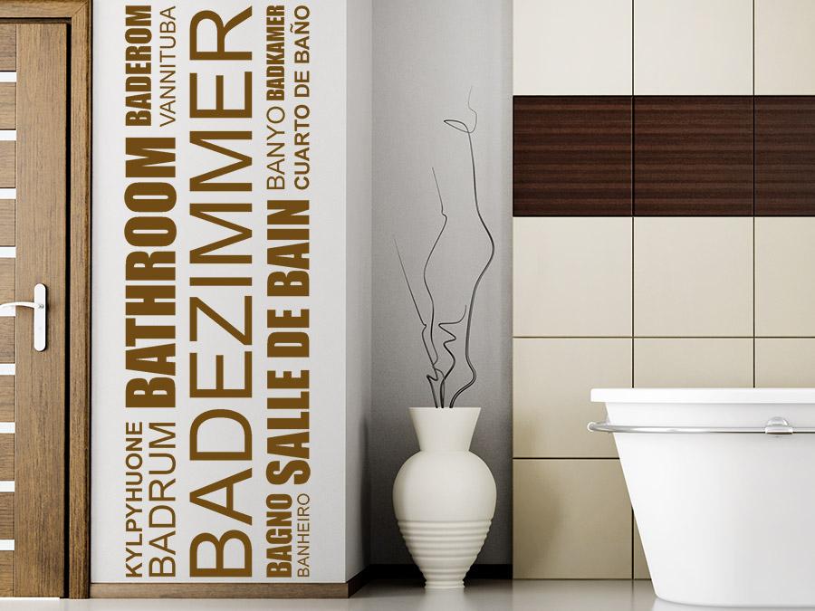 Wandtattoo Badezimmer Banner Sprachen | WANDTATTOO.DE