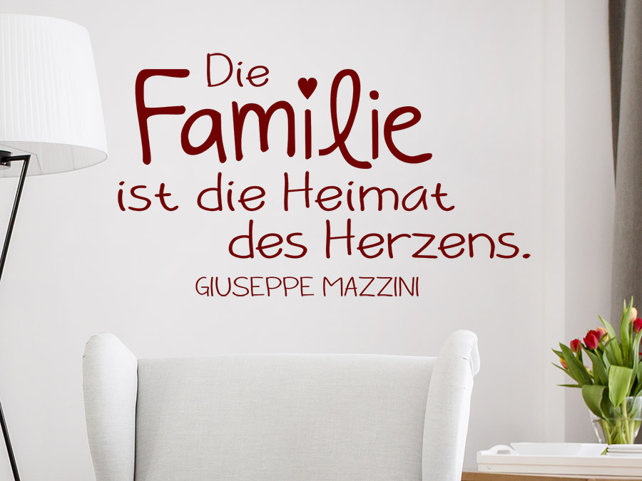 Wandtattoo Die Familie ist die Heimat des Herzens | WANDTATTOO.DE