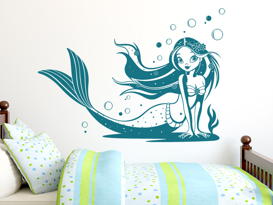 wandtattoo meerjungfrau unterwasserwelt wandtattoo de. Black Bedroom Furniture Sets. Home Design Ideas