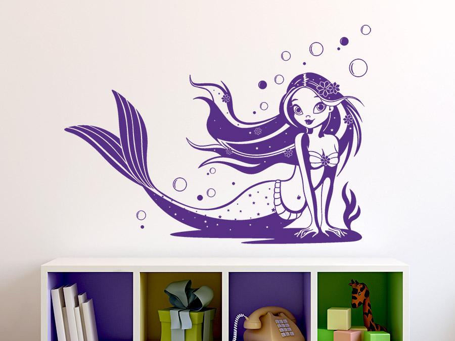 wandtattoo meerjungfrau wandtattoo meerjungfrau im kinderzimmer in violett zauberhafte - Zauberhaft Wandtattoos Kuche Ausfuhrung