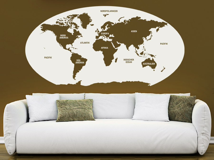 wandtattoo unsere welt weltkarte mit kontinenten wandtattoo de. Black Bedroom Furniture Sets. Home Design Ideas