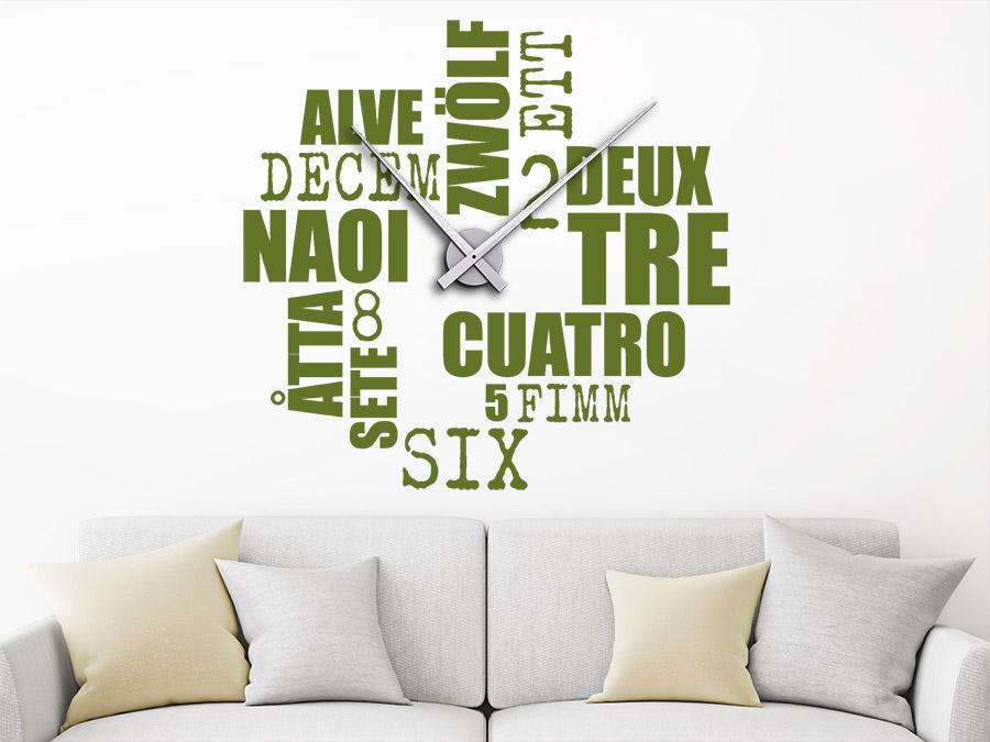 Wandtattoo Uhr Zwölf Sprachen
