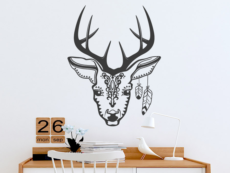 wandtattoo ethno hirsch von. Black Bedroom Furniture Sets. Home Design Ideas