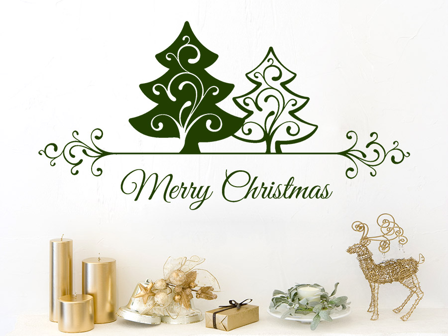 wandtattoo merry christmas mit ornamenten wandtattoo de. Black Bedroom Furniture Sets. Home Design Ideas