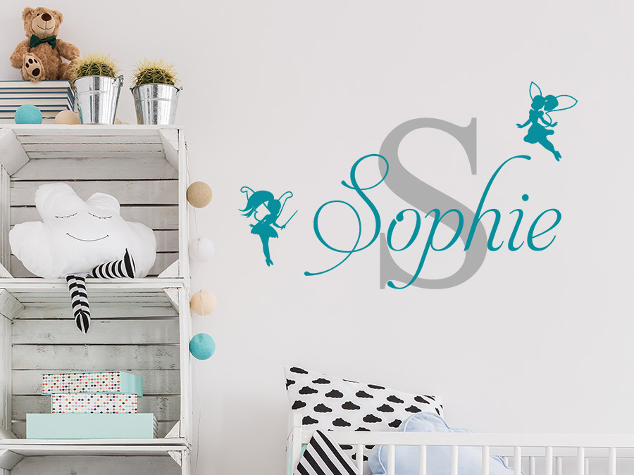 wandtattoo kindername mit buchstabe und elfen bei. Black Bedroom Furniture Sets. Home Design Ideas