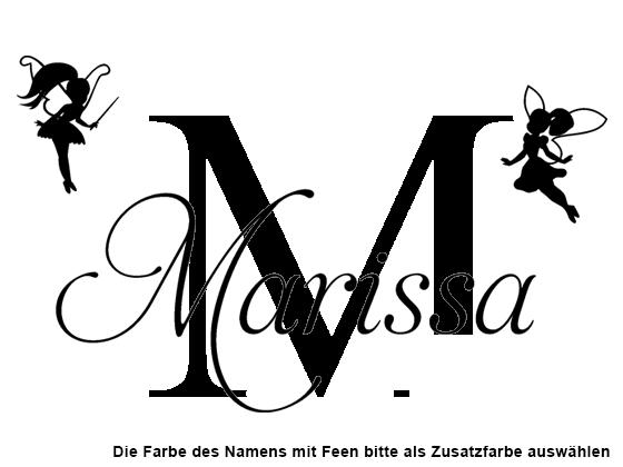 Wandtattoo Wunschname mit Buchstabe und Feen | WANDTATTOO.DE