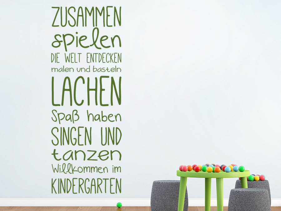wandtattoo willkommen im kindergarten spruchband wandtattoo de. Black Bedroom Furniture Sets. Home Design Ideas