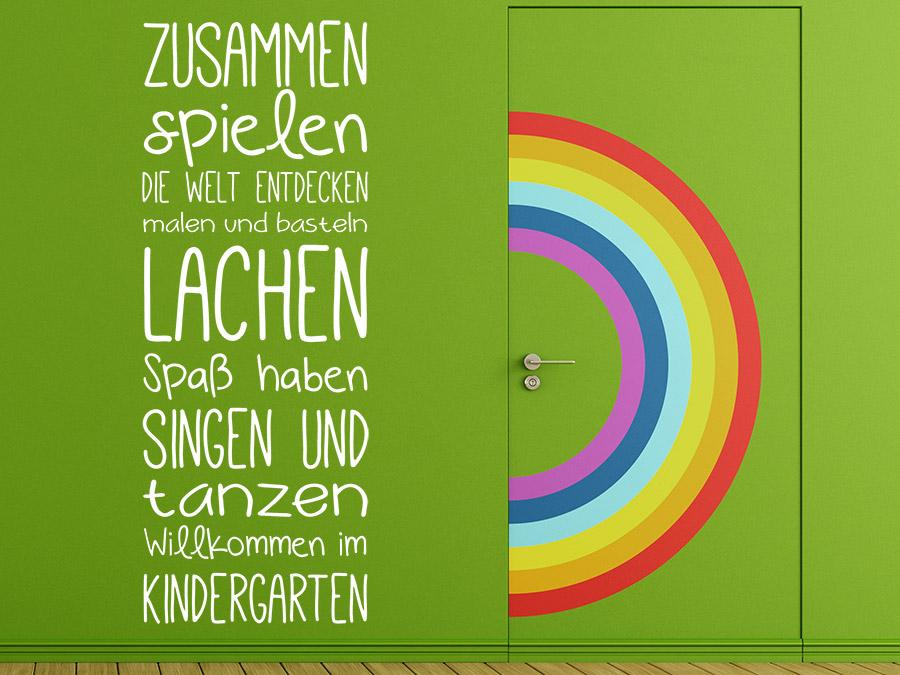 Wandtattoo Willkommen im Kindergarten Spruchband bei ...