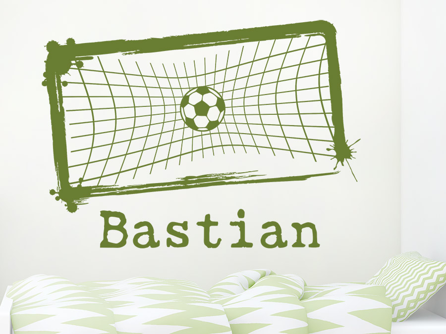 Wandtattoo fu ball tornetz mit name bei for Fussballtor kinderzimmer