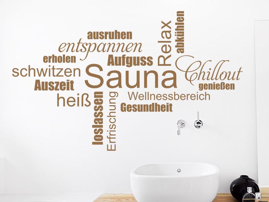 wandtattoo sauna wortwolke wandtattoo de. Black Bedroom Furniture Sets. Home Design Ideas