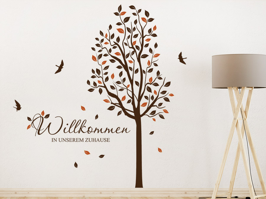 wandtattoo baum willkommen zuhause. Black Bedroom Furniture Sets. Home Design Ideas
