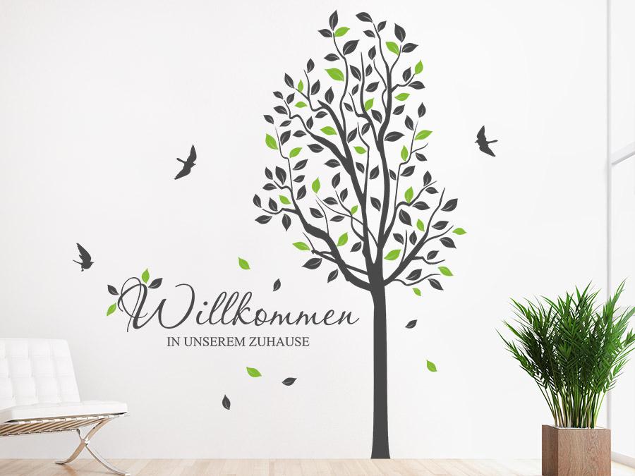 Wandtattoo Baum Willkommen Zuhause Wandtattoo Baum Willkommen Zuhause Im  Flur ...