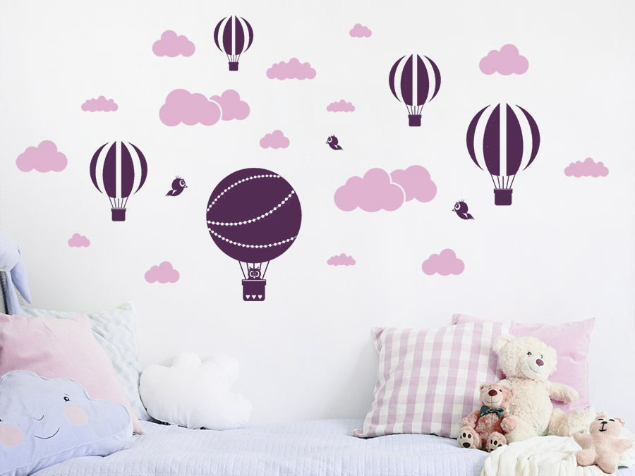 wandtattoo set wolken und hei luftballons. Black Bedroom Furniture Sets. Home Design Ideas