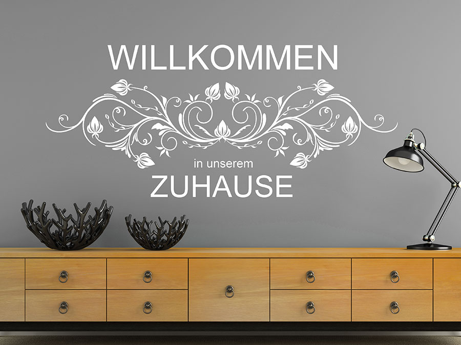 wandtattoo willkommen in unserem zuhause wandtattoo de. Black Bedroom Furniture Sets. Home Design Ideas