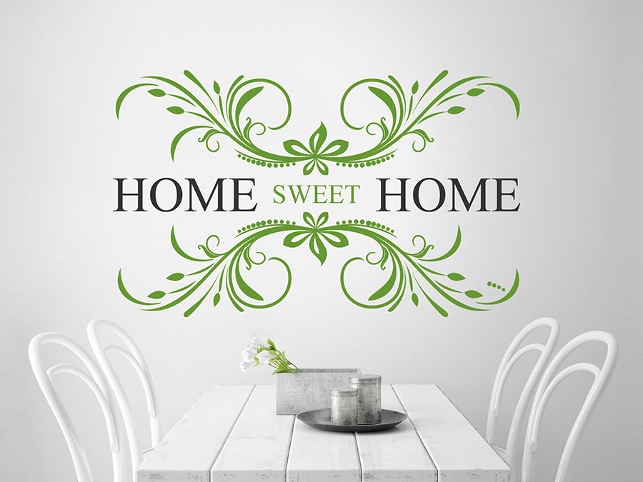 Wandtattoo home sweet home mit ornament wandtattoo de - Wandtattoo home ...