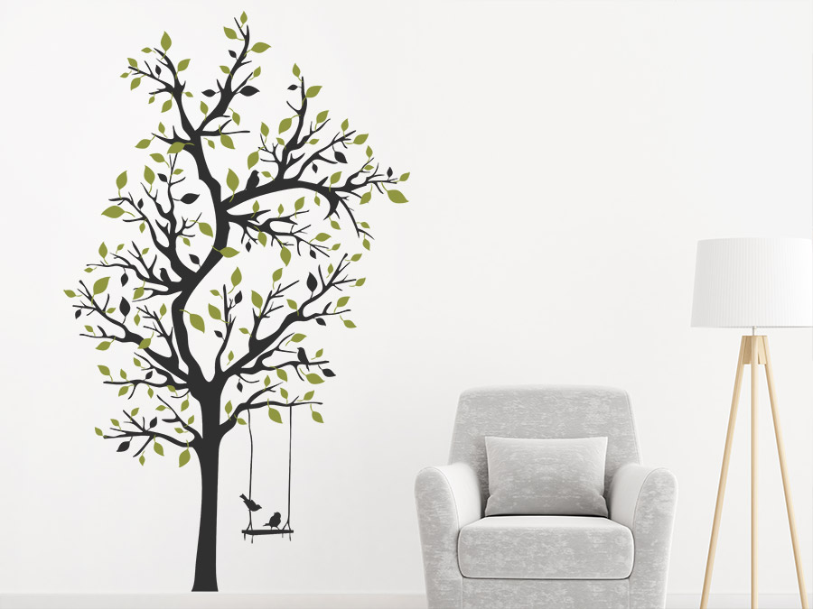 wandtattoo verzweigter baum mit schaukel wandtattoo de. Black Bedroom Furniture Sets. Home Design Ideas