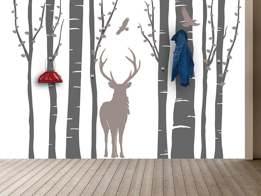 Wandtattoo garderobe wald flair mit hirsch wandtattoo de for Garderobe birke