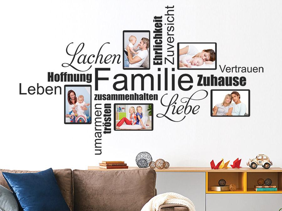 Wandtattoo Fotorahmen Wortwolke Familie Wandtattoo De