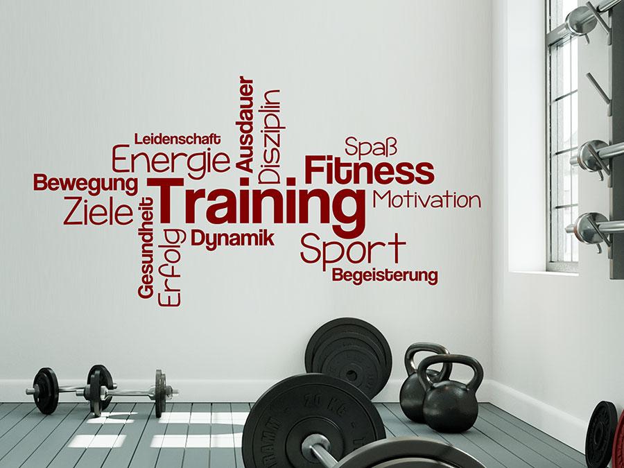 wandtattoo training begriffe fitness motivation wandtattoo de. Black Bedroom Furniture Sets. Home Design Ideas