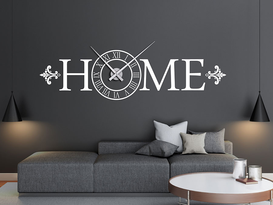 wandtattoo uhr schriftzug home bei. Black Bedroom Furniture Sets. Home Design Ideas