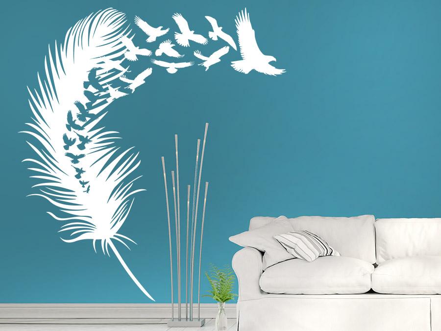 wandtattoo vogelfeder mit vogelschar wandtattoo de. Black Bedroom Furniture Sets. Home Design Ideas