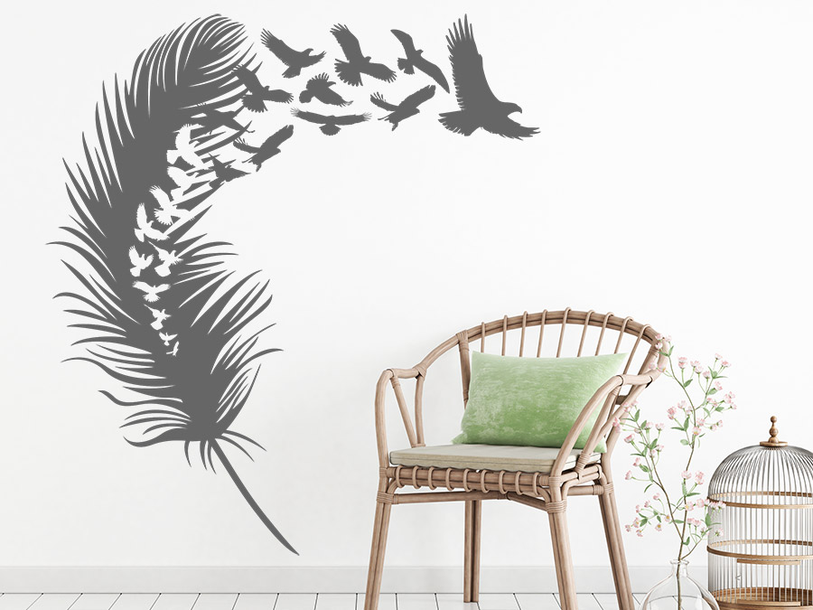 wandtattoo gro e feder mit wegfliegenden v geln bei. Black Bedroom Furniture Sets. Home Design Ideas