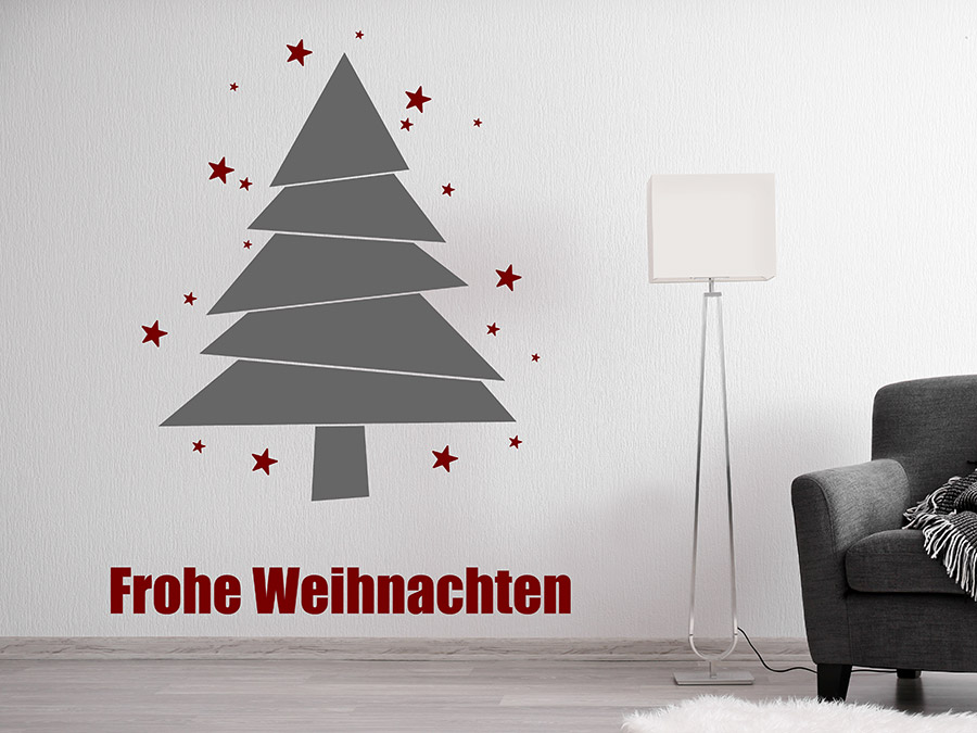 wandtattoo moderner weihnachtsbaum mit sternen. Black Bedroom Furniture Sets. Home Design Ideas
