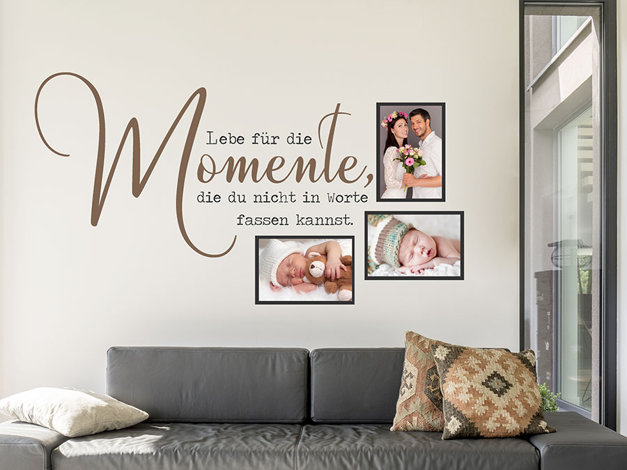 wandtattoo fotorahmen lebe f r die momente wandtattoo de. Black Bedroom Furniture Sets. Home Design Ideas