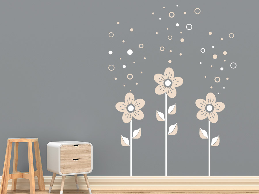 wandtattoo blumen mit seifenblasen wandtattoo de. Black Bedroom Furniture Sets. Home Design Ideas