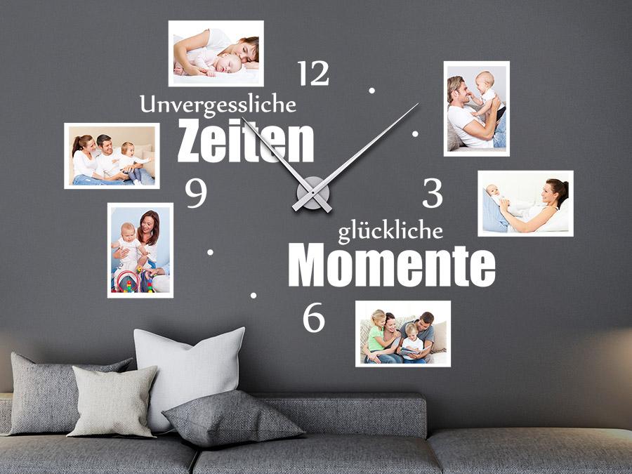 Wandtattoo Uhr Unvergessliche Zeiten mit Fotorahmen | WANDTATTOO.DE