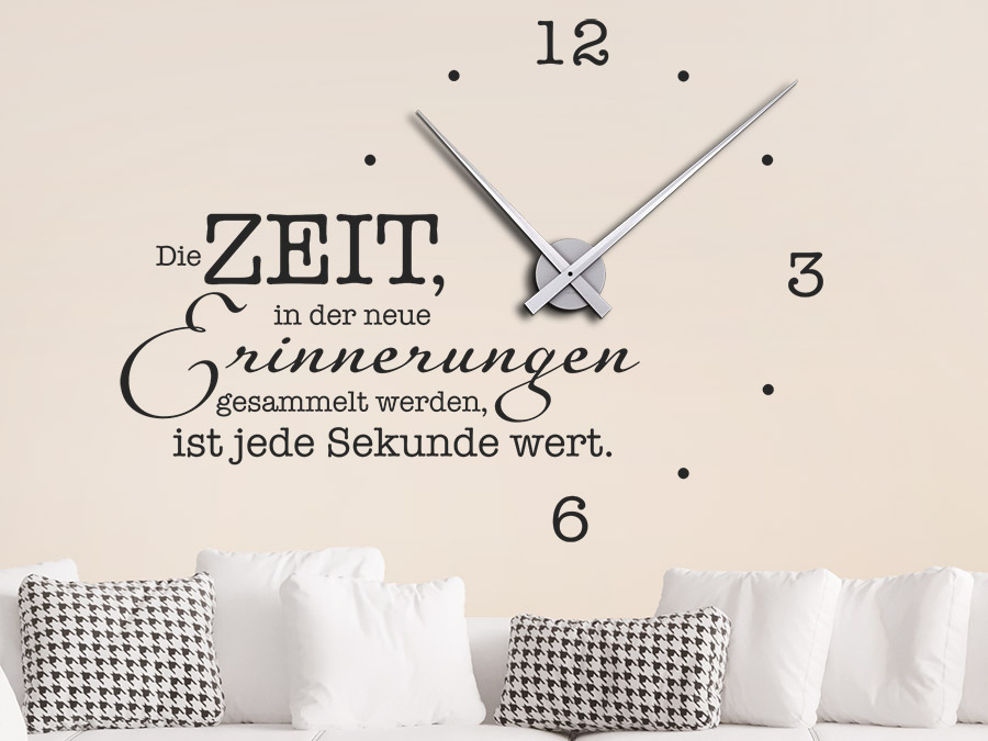 wandtattoo uhr die zeit in der neue erinnerungen wandtattoo de. Black Bedroom Furniture Sets. Home Design Ideas