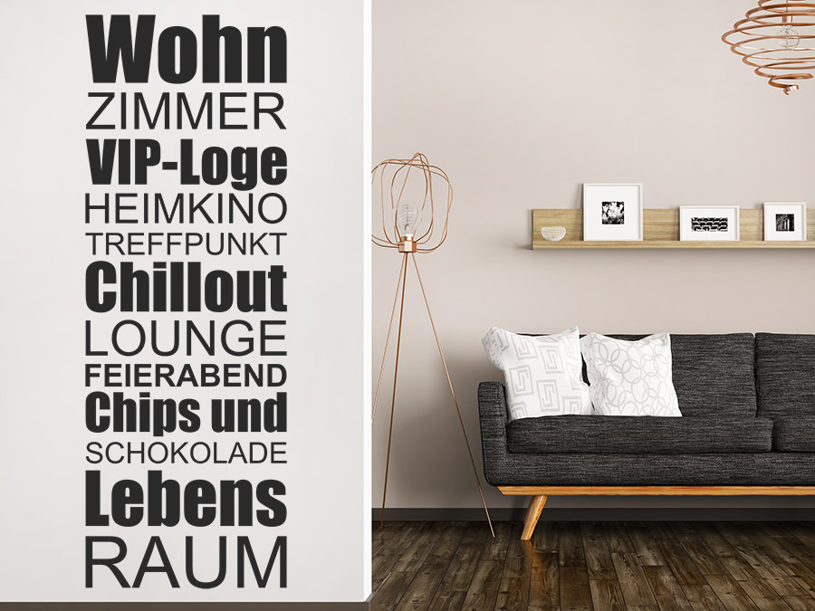 wandtattoo wohnzimmer lebensraum wandtattoo de. Black Bedroom Furniture Sets. Home Design Ideas