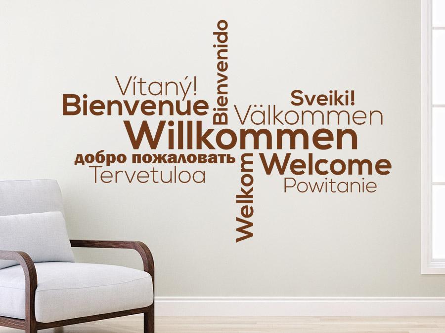 Wandtattoo willkommen in vielen sprachen wandtattoo de - Wandtattoo flur ...