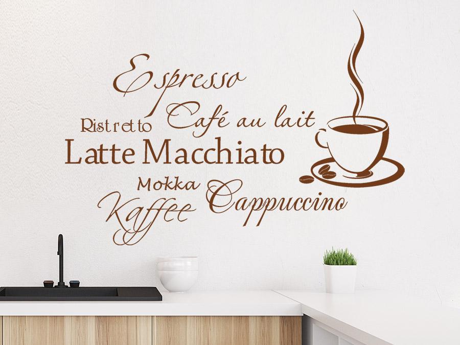 Wandtattoo Kaffee Aroma mit Kaffeetasse   Wandtattoos.de