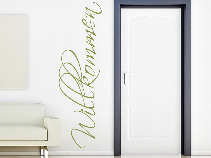 wandtattoo willkommen senkrecht bei. Black Bedroom Furniture Sets. Home Design Ideas