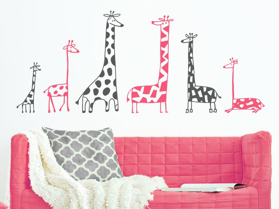 Wandtattoo Zweifarbiges Set Lustige Giraffen | WANDTATTOO.DE