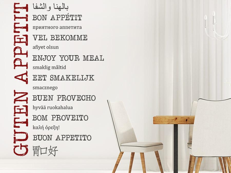 Guten Appetit Französisch wandtattoo guten appetit in vielen sprachen wandtattoo de