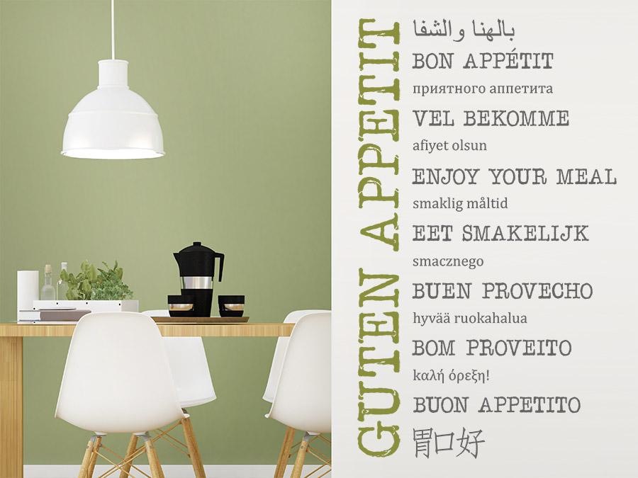 Wandtattoo Guten Appetit in vielen Sprachen | WANDTATTOO.DE