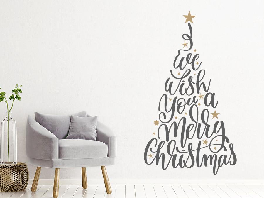 Wandtattoo worte weihnachtsbaum mit sternen wandtattoo de - Weihnachtsbaum wand ...