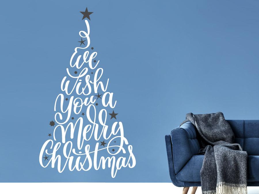Wandtattoo Worte Weihnachtsbaum mit Sternen | WANDTATTOO.DE