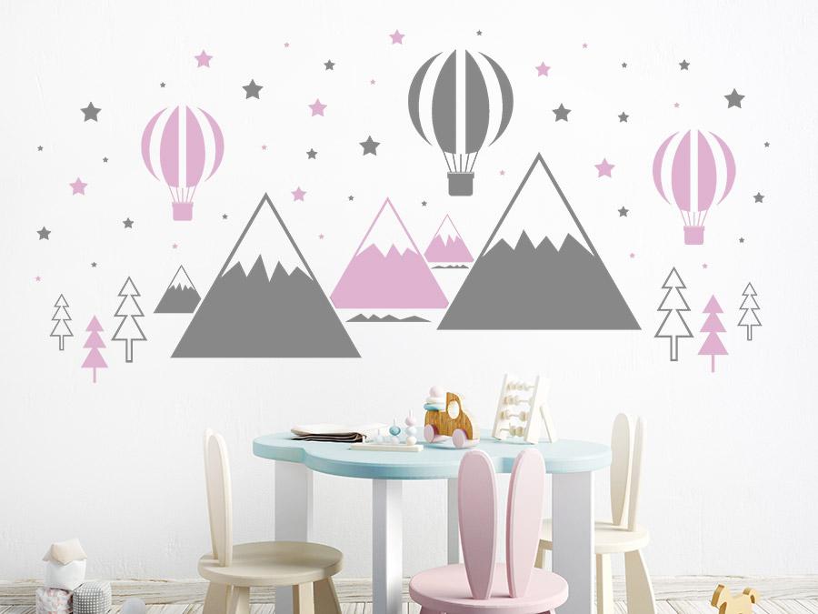 Wandtattoo hei luftballons und berge - Farbwahl kinderzimmer ...