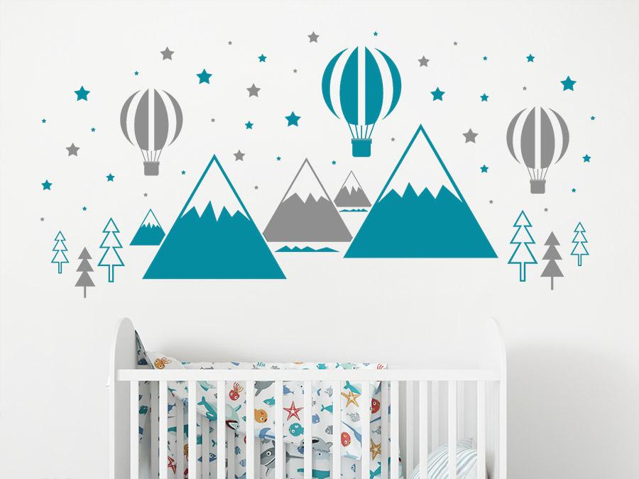 Wandtattoo hei luftballons und berge for Kinderzimmer berge