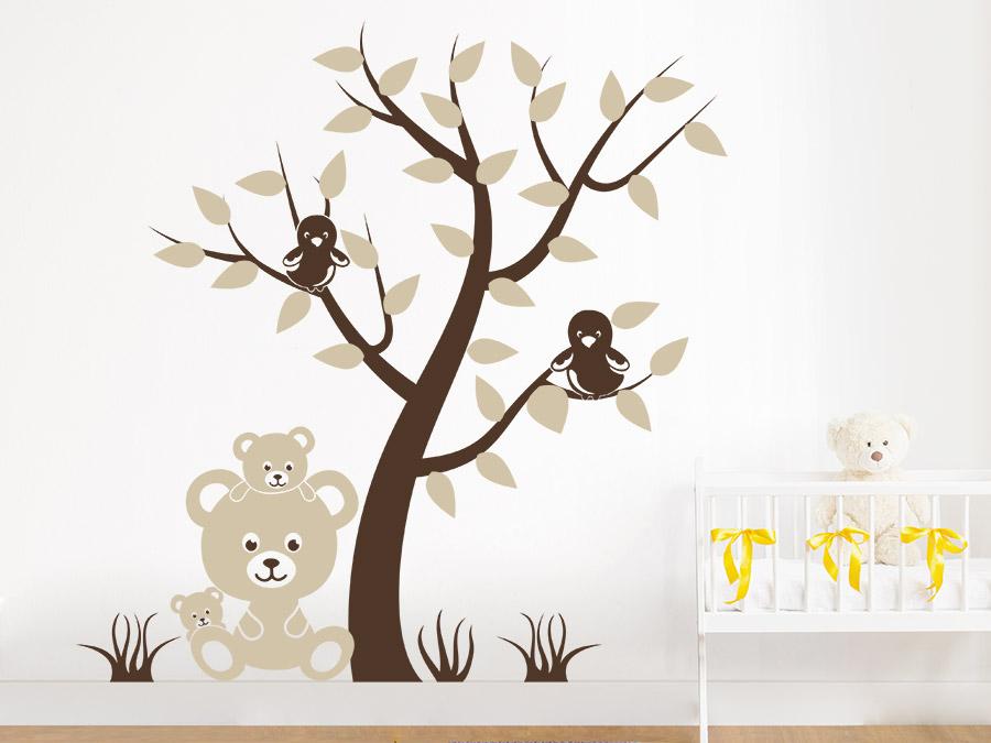 wandtattoo baum mit v geln und teddyb ren. Black Bedroom Furniture Sets. Home Design Ideas