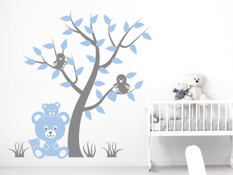 Wandtattoo Baum mit Vögeln und Teddybären | Wandtattoos.de
