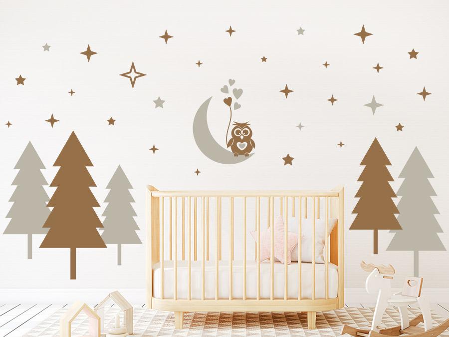 wandtattoo wald mit sternen und eule. Black Bedroom Furniture Sets. Home Design Ideas