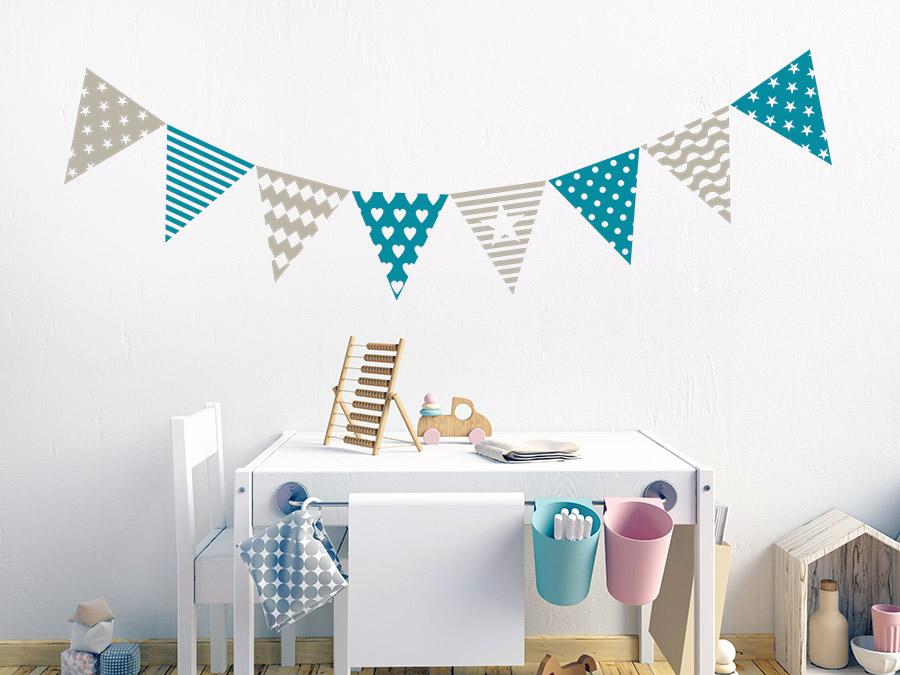 Wandtattoo wimpel design dreiecke - Wimpel babyzimmer ...