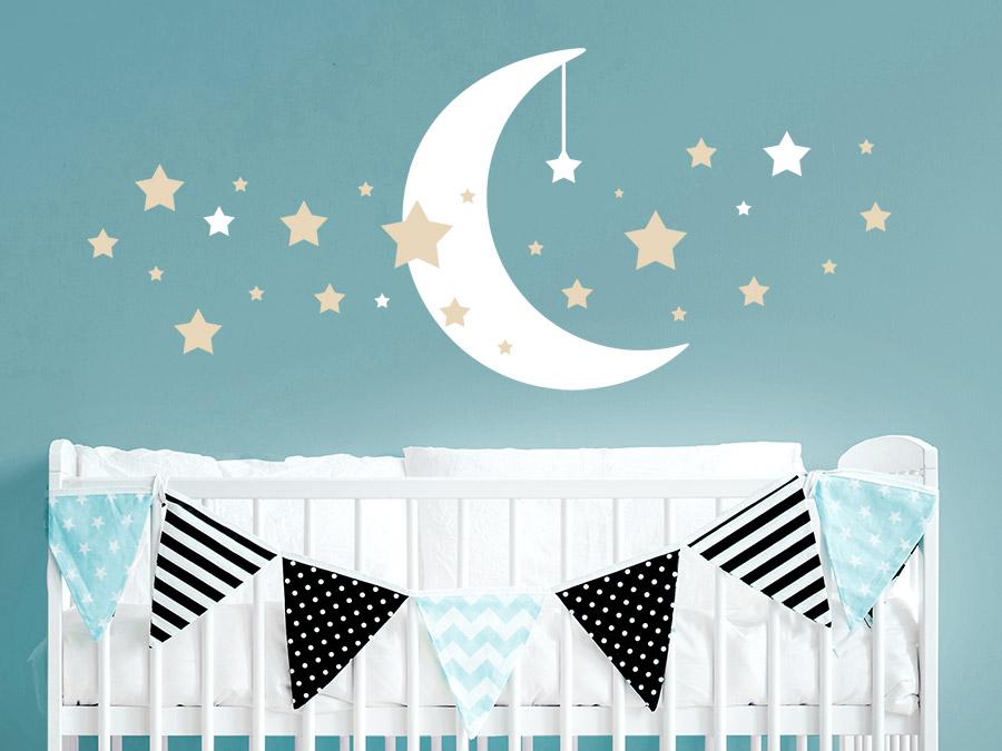 Wandtattoo Mond mit Sternen