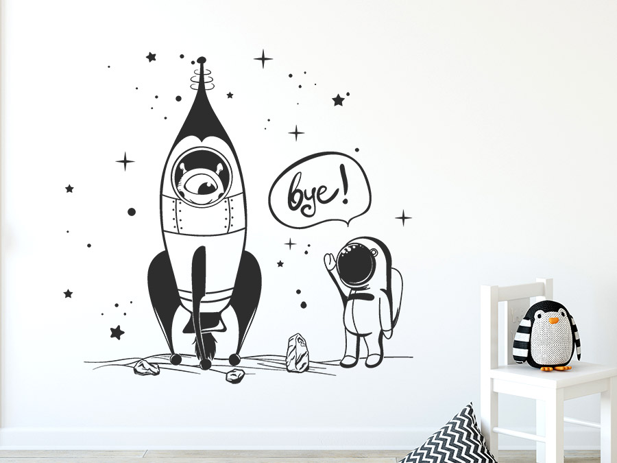 Wandtattoo Kleiner Astronaut Raketenstart Wandtattoo De